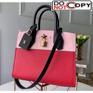 Louis Vuitton City Steamer PM Bag In Grainy Calfskin M53321 Red/Pink/Black bag