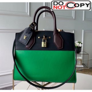 Louis Vuitton City Steamer PM Bag In Smooth Calfskin M42188 Green/Black bag