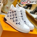 Louis Vuitton Time Out High-top Sneakers in Monogram Embroidered Calfskin White/Blue