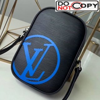Louis Vuitton Men's Danube PM Epi Leather Shoulder Bag M55120 Black/Blue bag