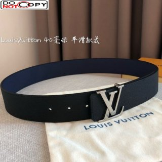 Louis Vuitton Reversible Calfskin Belt 40mm with Smooth LV Buckle Black/Blue