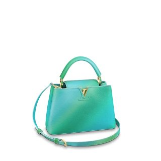 Louis Vuitton Colorful Candy Edition Taurillon Leather Capucines BB Top Handle Bag M55375 Green/Blue Bag