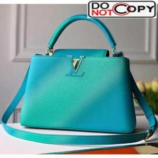 Louis Vuitton Colorful Candy Edition Taurillon Leather Capucines PM Top Handle Bag M55375 Green/Blue Bag