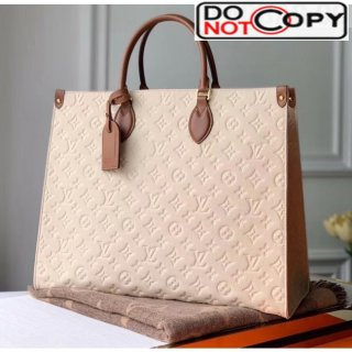 Louis Vuitton Onthego Monogram Embossed Leather Large Tote M44921 White/Brown bag