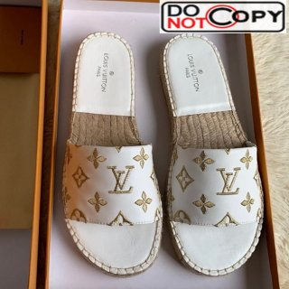 Louis Vuitton Monogram Embroidered Flat Espadrilles Slide Sandals White/Gold (For Women and Men)