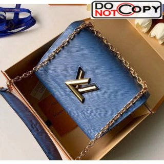 Louis Vuitton Epi Leather Twist MM Shoulder Bag M50282 Blue/Gold Bag