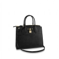 Louis Vuitton City Steamer MM Bag In Grainy Calfskin M51897 Black/Gold bag