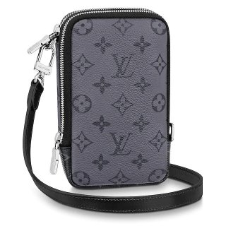 Louis Vuitton Double Phone Pouch in Monogram Eclipse Canvas M69534 Black/Grey bag