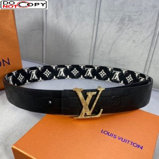Louis Vuitton Belt 35mm with Gold LV Buckle in Black Monogram Canvas and Damier Calfskin