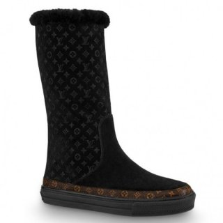Louis Vuitton Black Snowball Flat Half Boot