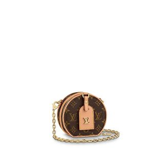 Louis Vuitton Boite Chapeau Necklace Monogram Canvas Round Chain Clutch M68570 Nude bag