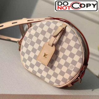 Louis Vuitton Boite Chapeau Souple MM Damier Azur Canvas Round Chain Clutch M52294 Nude bag