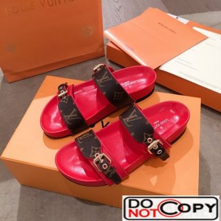 Louis Vuitton Bom Dia Monogram Leather Flat Sandals 1A4WJK Red