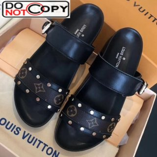 Louis Vuitton Bom Dia Studs Monogram Leather Flat Sandals 1A4WWS Black