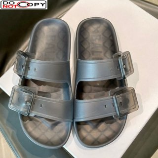 Louis Vuitton Bom Dia Transparent TPU Flat Sandals Grey