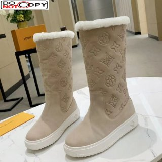 Louis Vuitton Breezy Flat Mid-High Boots in Beige Monogram Suede