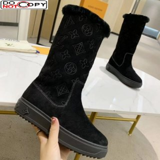 Louis Vuitton Breezy Flat Mid-High Boots in Black Monogram Suede