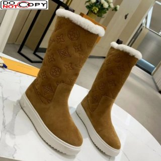 Louis Vuitton Breezy Flat Mid-High Boots in Camel Brown Monogram Suede