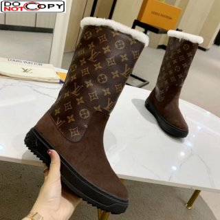 Louis Vuitton Breezy Flat Mid-High Boots in Coffee Brown Monogram Suede