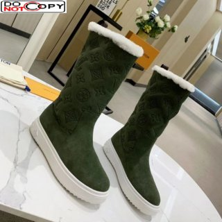 Louis Vuitton Breezy Flat Mid-High Boots in Green Monogram Suede