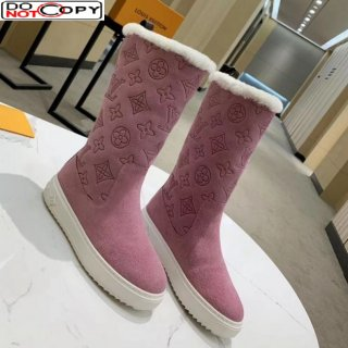 Louis Vuitton Breezy Flat Mid-High Boots in Pink Monogram Suede