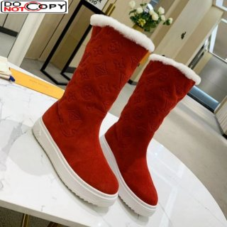 Louis Vuitton Breezy Flat Mid-High Boots in Red Monogram Suede