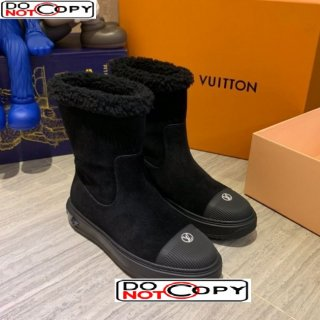 Louis Vuitton Breezy Suede Wool Short Boots Black