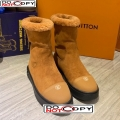 Louis Vuitton Breezy Suede Wool Short Boots Camel Brown