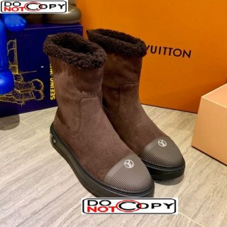 Louis Vuitton Breezy Suede Wool Short Boots Dark Brown