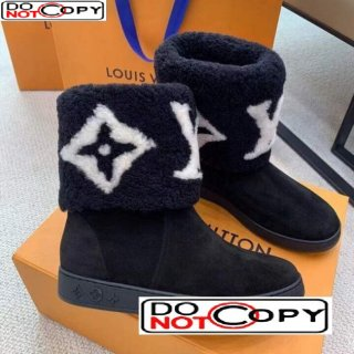 Louis Vuitton Calfskin Suede and Wool Flat Short Boots Monogram