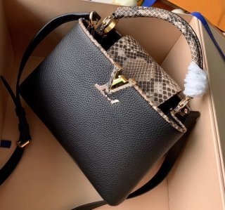 Louis Vuitton Capucines BB Bag Python Handle and Flap N95509 Black bag