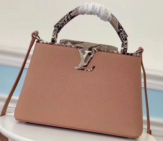 Louis Vuitton Capucines BB Bag Python Handle and Flap Nude Pink bag