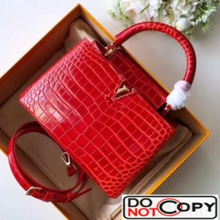 Louis Vuitton Capucines BB Top Handle Bag in Crocodilian Leather N93992 Red bag