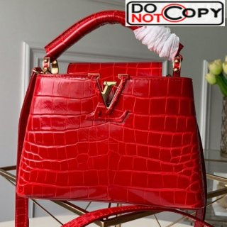 Louis Vuitton Capucines Mini Crocodile Leather Top Handle Bag N93254 Cerise Red bag