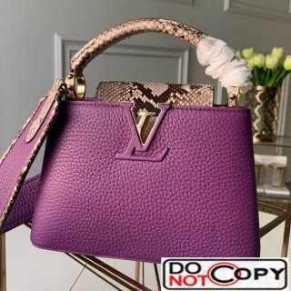 Louis Vuitton Capucines Mini with Python Skin Top Handle Bag Purple