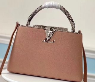 Louis Vuitton Capucines PM Bag Python Handle and Flap N95382 Nude Pink