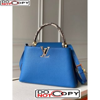 Louis Vuitton Capucines PM with Snakeskin Top Handle N98338 Royal Blue bag
