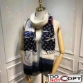 Louis Vuitton Cashmere Monogram Patches Print Scarf Black
