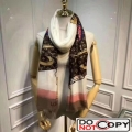 Louis Vuitton Cashmere Monogram Patches Print Scarf Brown