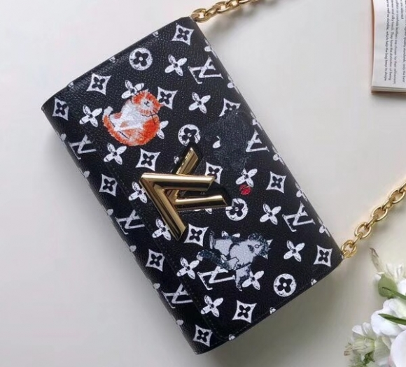 Louis Vuitton Catogram Monogram Canvas Twist Chain Wallet M63888 Black-White bag