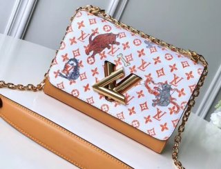 Louis Vuitton Catogram Monogram Canvas Twist MM Bag M44408 White-Apricot bag