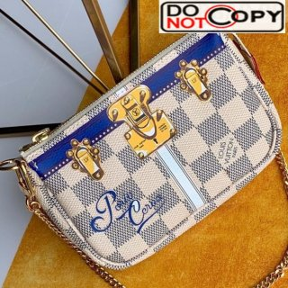Louis Vuitton Christmas Mini Pochette Accessoires Pouch in Damier Azur Canvas N58010