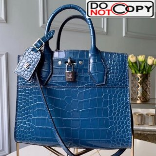 Louis Vuitton City Steamer PM Top Handle Bag in Glossy Crocodile Leather N95169 Blue bag