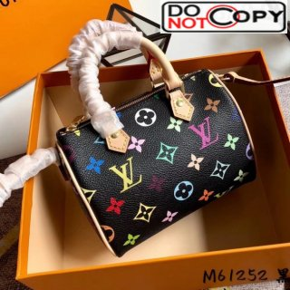Louis Vuitton Colored Monogram Nano Speedy Top Handle Bag M61252 Black bag