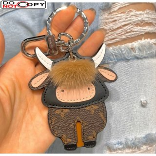 Louis Vuitton Cow Charm and Key Holder Brown