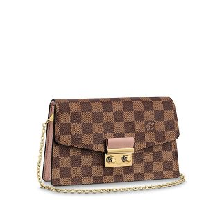 Louis Vuitton Croisette Damier Ebene Canvas Chain Wallet N60287 Pink bag
