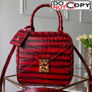 Louis Vuitton Cube Neo Square Crocodile Embossed Striped Top Handle Bag M55334 Red bag