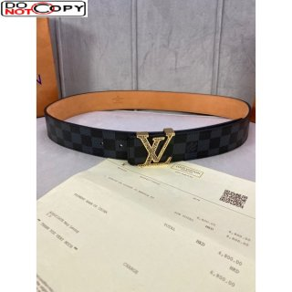 Louis Vuitton Damier Black Canvas Belt 40mm with Gold Striped LV Buckle