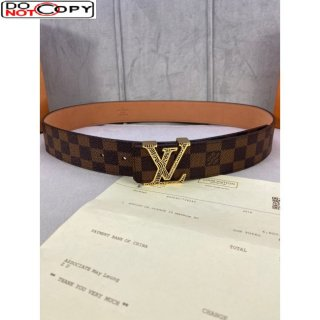Louis Vuitton Damier Ebene Canvas Belt 40mm with Gold Striped LV Buckle