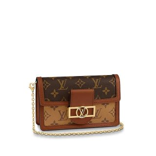Louis Vuitton Dauphine Chain Wallet WOC Monogram Reverse Canvas M68746 bag